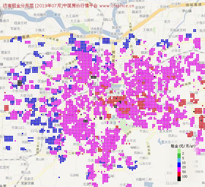 济南租金分布栅格图(2019年7月)