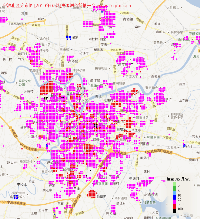 宁波租金分布栅格图(2019年7月)