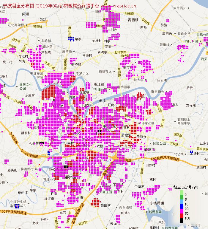宁波租金分布栅格图(2019年8月)