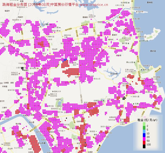 珠海租金分布栅格图(2019年8月)