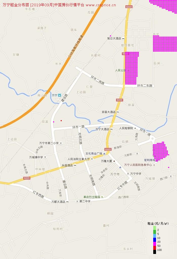 万宁租金分布栅格图(2019年9月)