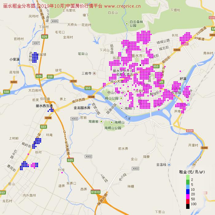 丽水租金分布栅格图(2019年10月)