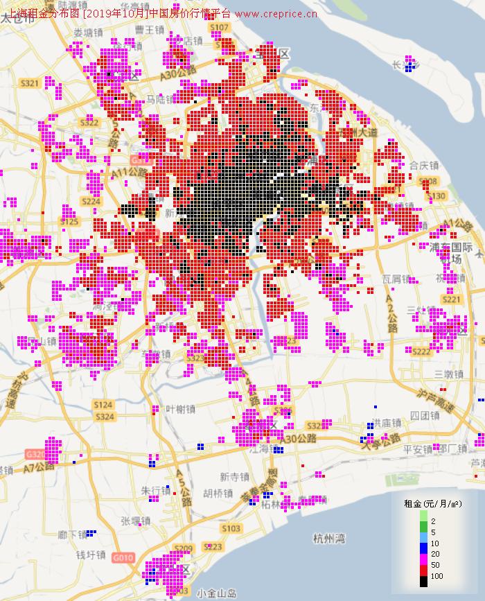 上海租金分布栅格图(2019年10月)