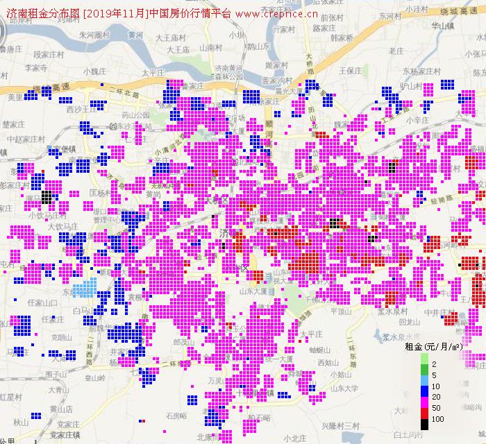济南租金分布栅格图(2019年11月)