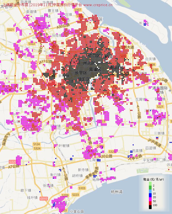 上海租金分布栅格图(2019年11月)