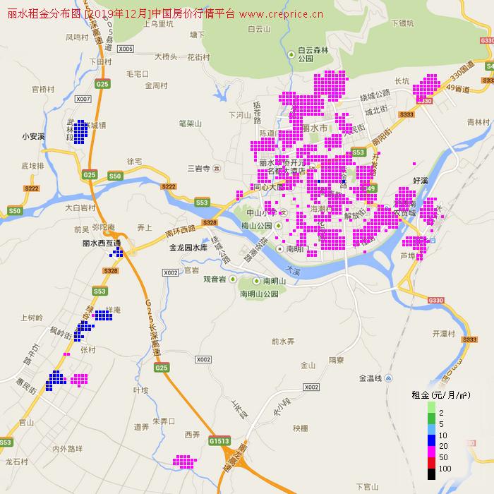 丽水租金分布栅格图(2019年12月)