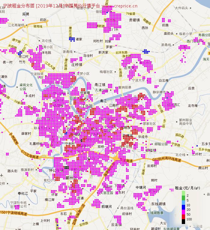 宁波租金分布栅格图(2019年12月)