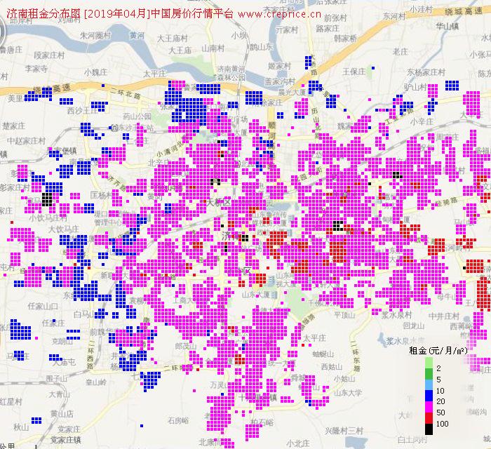 济南租金分布栅格图(2019年4月)