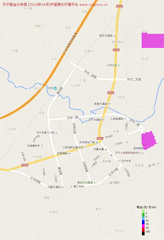 万宁租金分布栅格图(2019年4月)