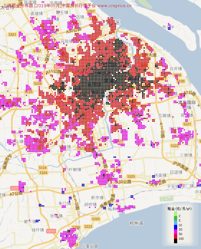 上海租金分布栅格图(2019年5月)