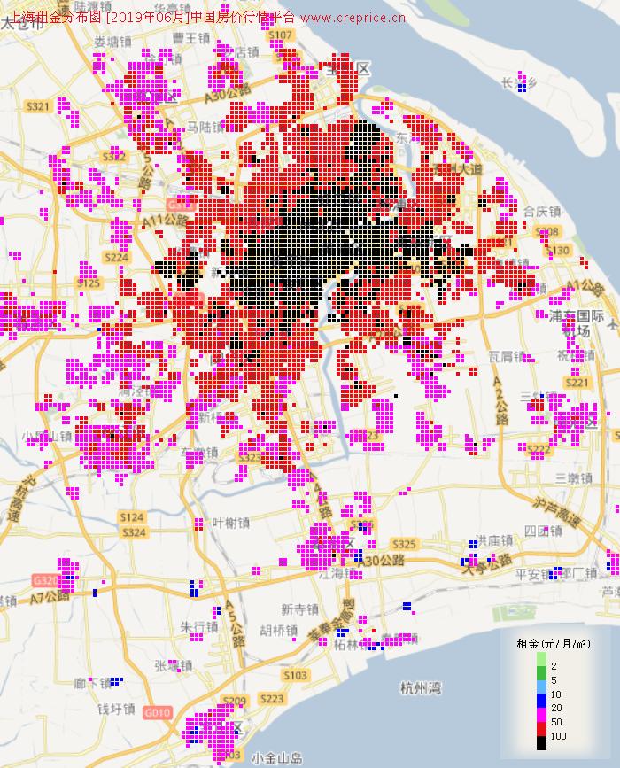 上海租金分布栅格图(2019年6月)