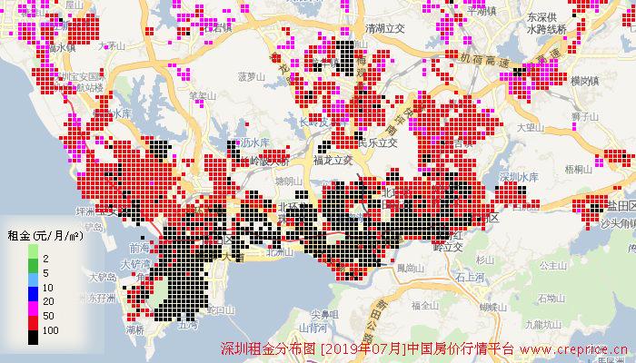 深圳租金分布栅格图(2019年7月)
