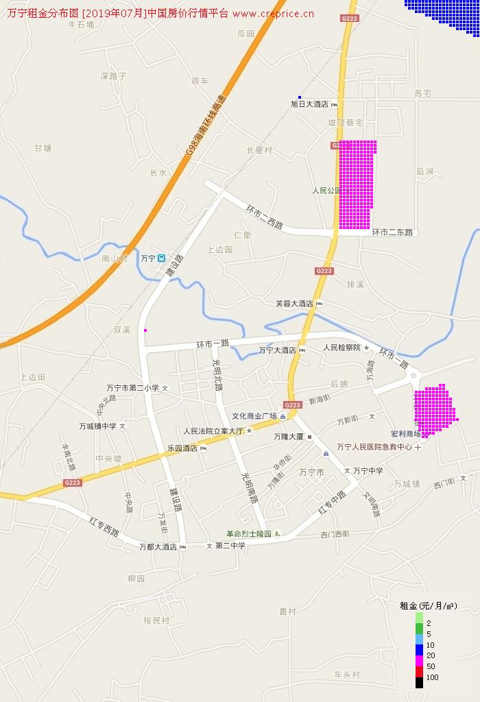 万宁租金分布栅格图(2019年7月)