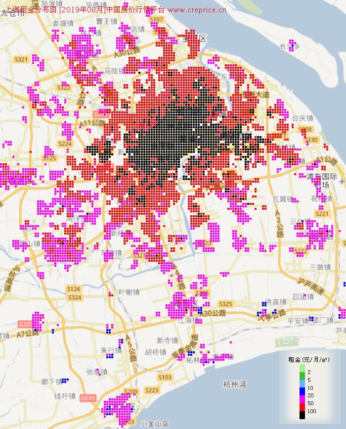 上海租金分布栅格图(2019年8月)