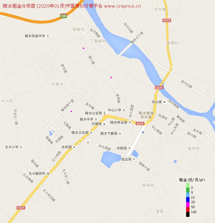 陵水租金分布栅格图(2020年1月)
