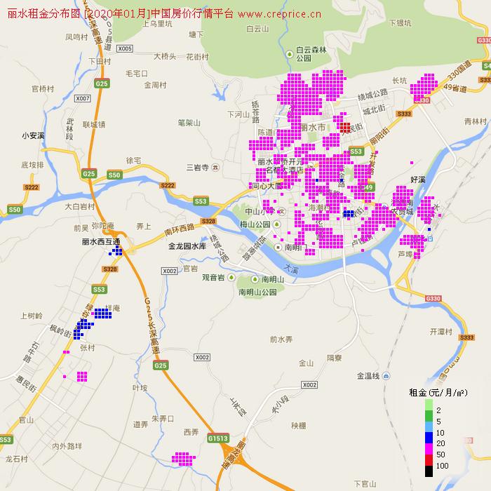 丽水租金分布栅格图(2020年1月)