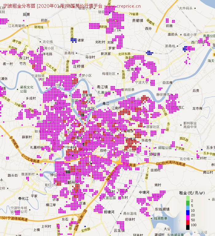 宁波租金分布栅格图(2020年1月)