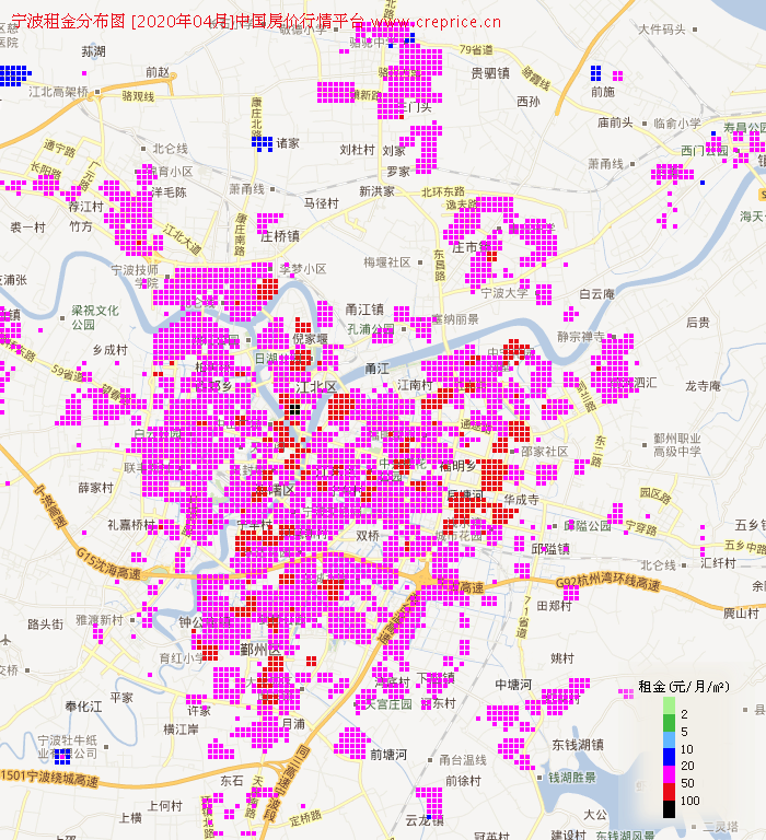 宁波租金分布栅格图(2020年4月)