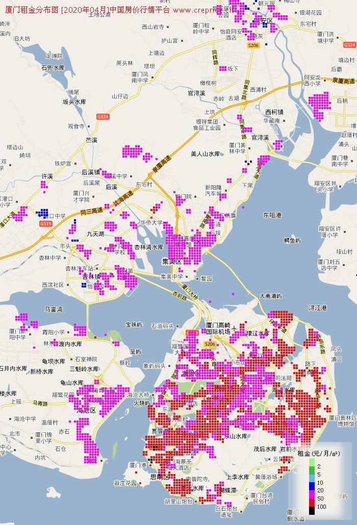 厦门租金分布栅格图(2020年4月)