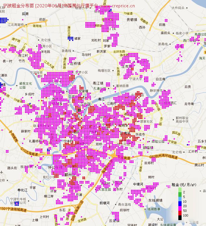 宁波租金分布栅格图(2020年6月)