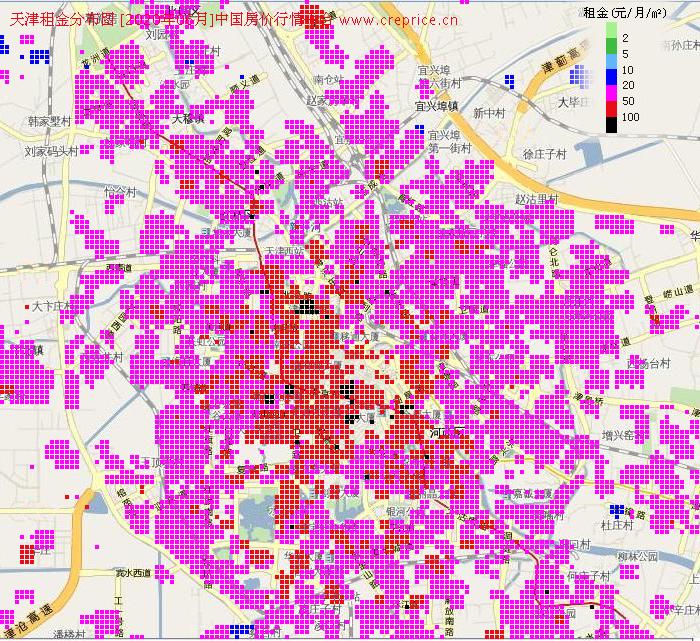 天津租金分布栅格图(2020年6月)