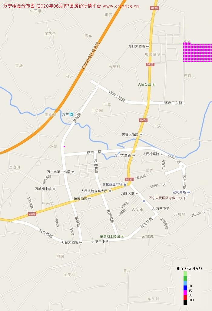 万宁租金分布栅格图(2020年6月)