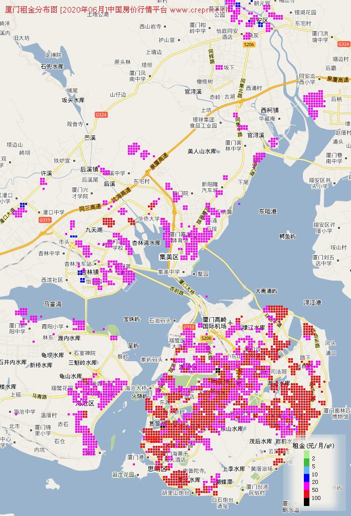 厦门租金分布栅格图(2020年6月)