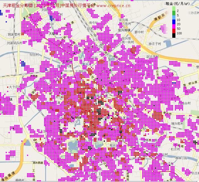 天津租金分布栅格图(2020年1月)