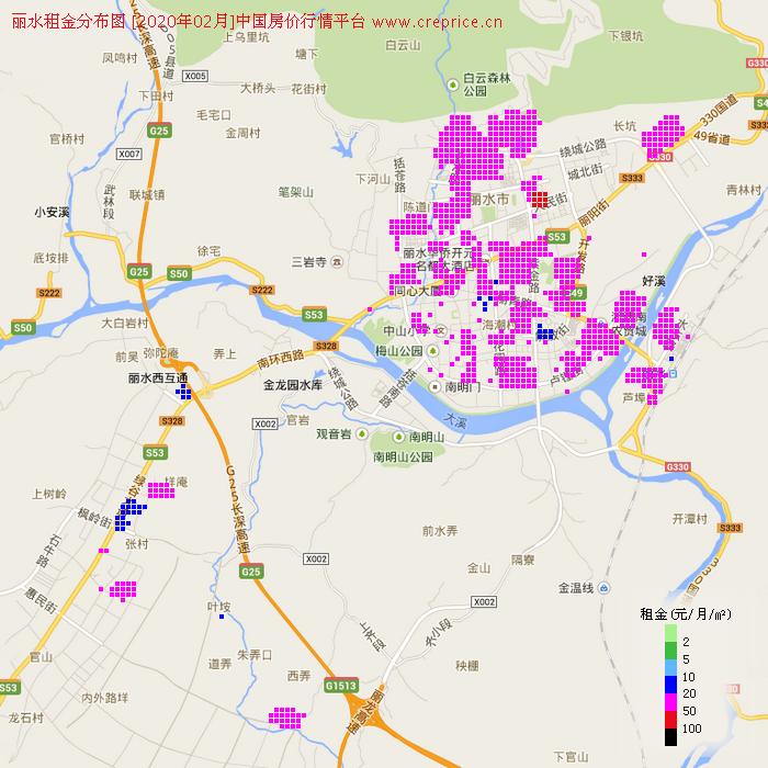 丽水租金分布栅格图(2020年2月)