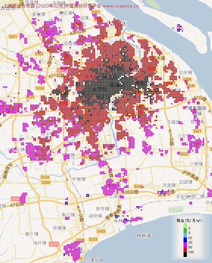 上海租金分布栅格图(2020年2月)