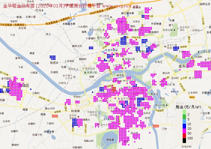 金华租金分布栅格图(2020年3月)