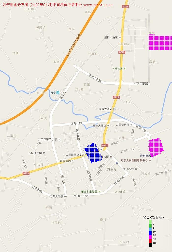 万宁租金分布栅格图(2020年4月)