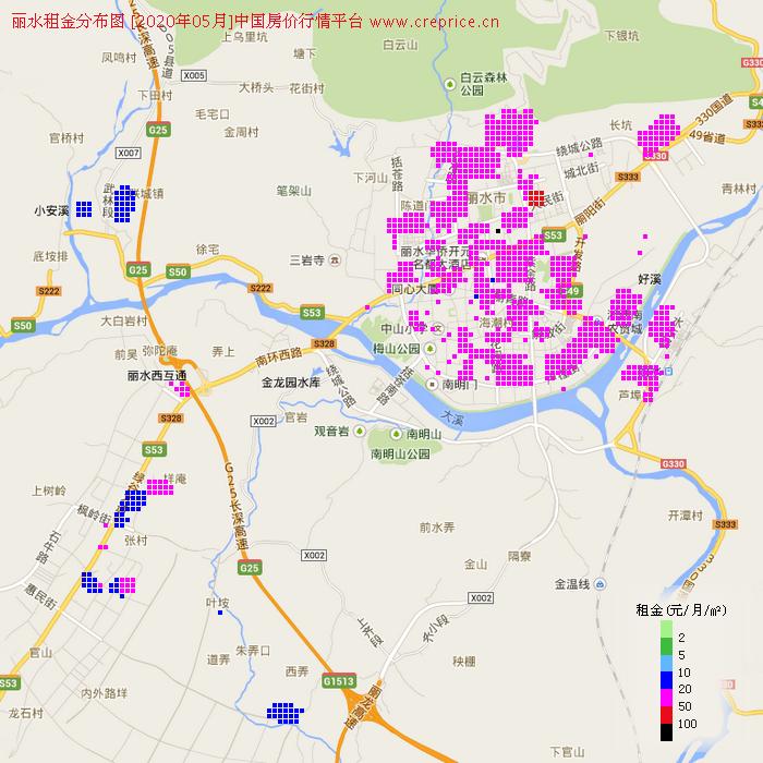 丽水租金分布栅格图(2020年5月)