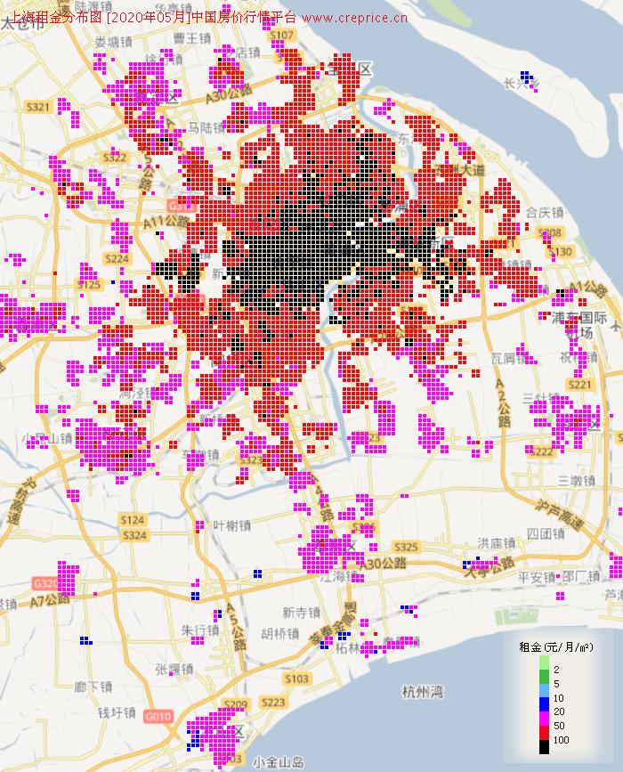 上海租金分布栅格图(2020年5月)